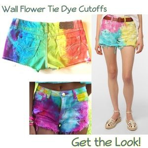 Wall Flower Tie Dye Cutoffs Jean Shorts Festival 3